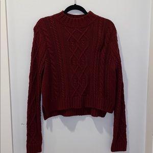 Knit crewneck burgundy sweater